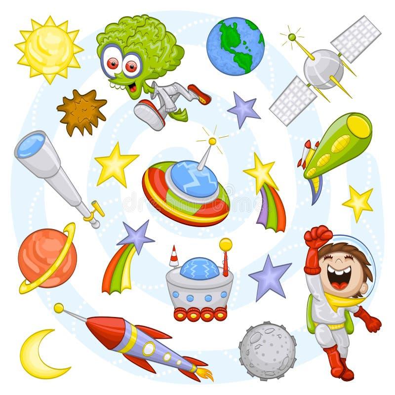 космос комплекта шаржа наружный бесплатная иллюстрация