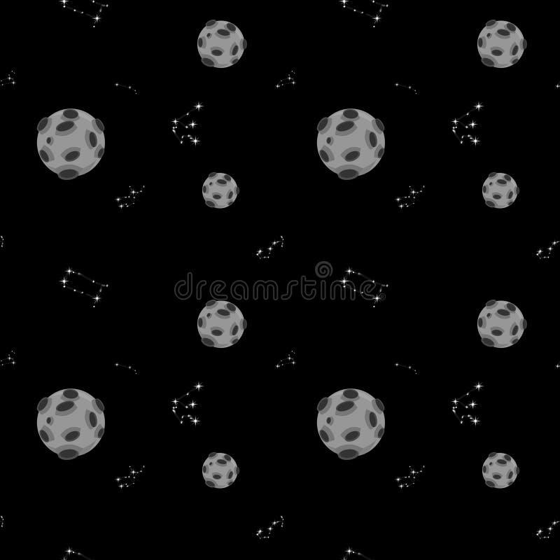 Космос, планеты на черной предпосылке E Дизайн для карт, одежд, тканей, канцелярских принадлежностей бесплатная иллюстрация