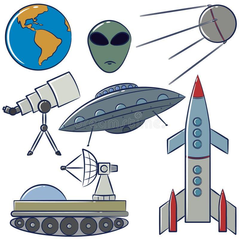 космос предметов собрания иллюстрация вектора