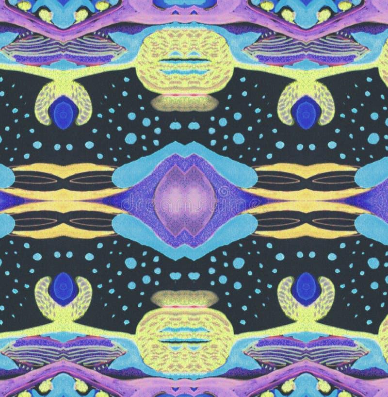 Космос сирени орнамента черный голубой желтый стоковые изображения rf