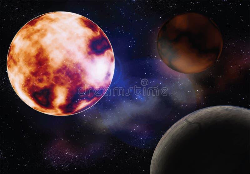 Космос с планетами солнца иллюстрация вектора