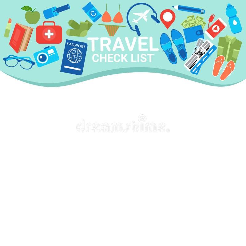 Космос экземпляра шаблона контрольного списка перемещения для упаковки контрольного списока, планирования чемодана каникул с пред иллюстрация штока