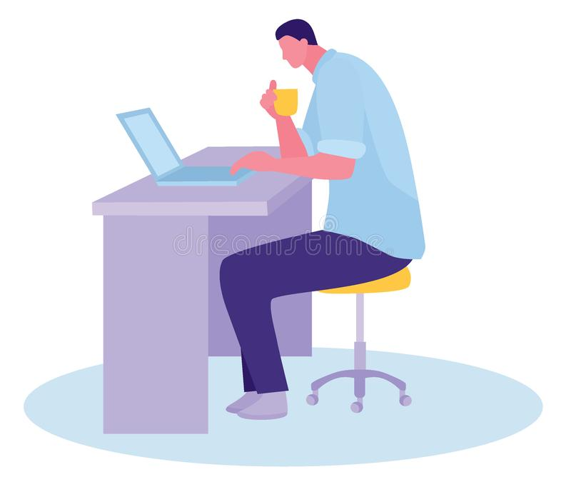 Космос Coworking парень сидит на таблице и работает с ноутбуком Плоская иллюстрация вектора стиля дизайна мультфильма иллюстрация вектора