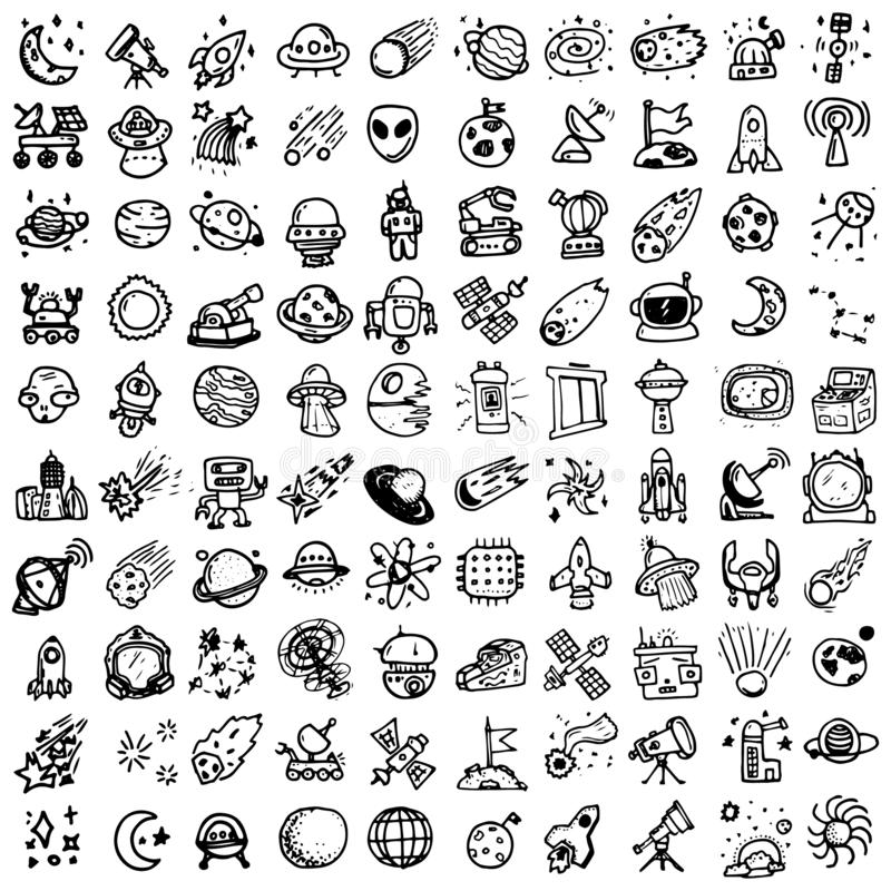 Космос doodles набор astrix Эскизы космоса Планеты челнока Луна и звезды Солнце r Метеор Комета Астероид новичка бесплатная иллюстрация