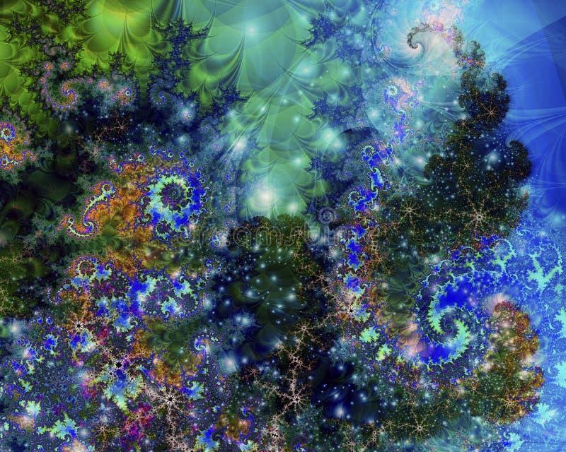 Космос Wraping зеленых цветов и син стоковые изображения