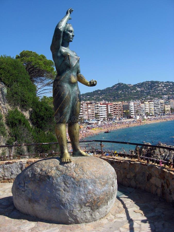 Коста Brava De mar lloret статуи жены рыболова стоковое изображение rf