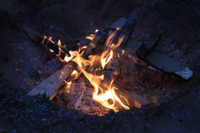 Костер в располагаться лагерем ночью стоковая фотография rf