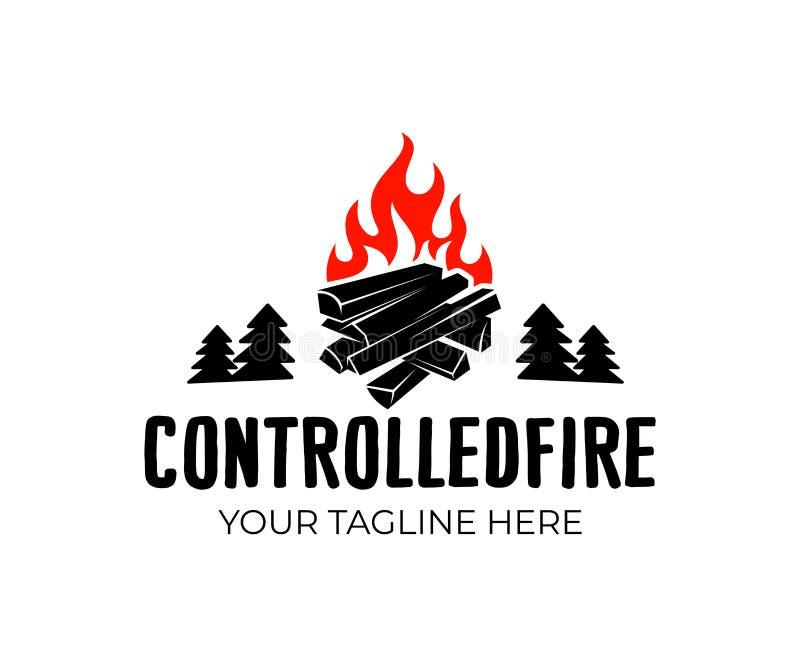 Костер и огонь со швырком и журналами, лесом с елями, дизайном логотипа Располагаться лагерем, поход, активные остатки и outdoors бесплатная иллюстрация