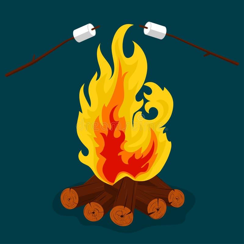 Костер - камин располагающся лагерем, гореть woodpile, лагерный костер или вектор иллюстрация вектора
