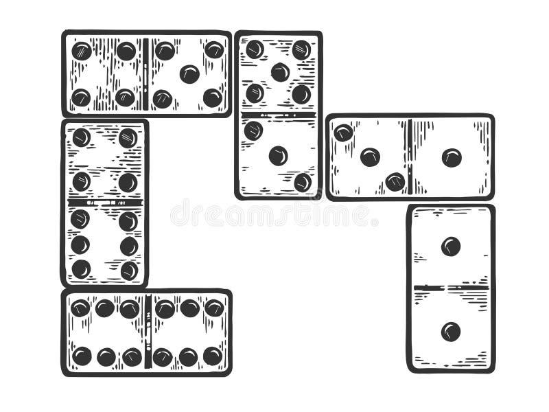 Косточки домино гравируя иллюстрацию вектора бесплатная иллюстрация