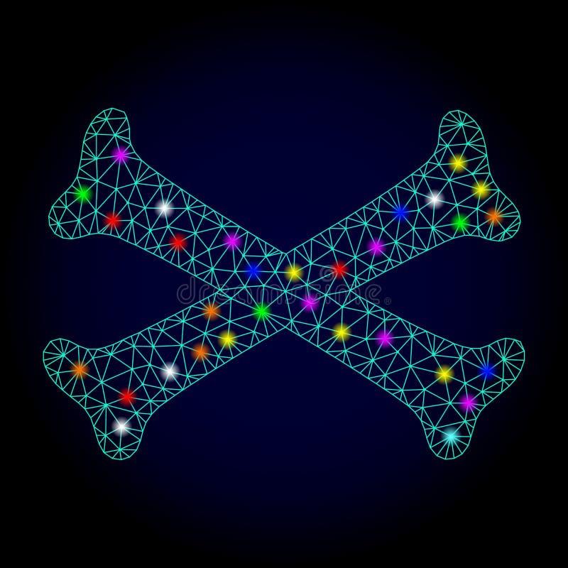 Косточки скрещивания сетки вектора полигональные с пятнами слепимости для Chistmas иллюстрация штока