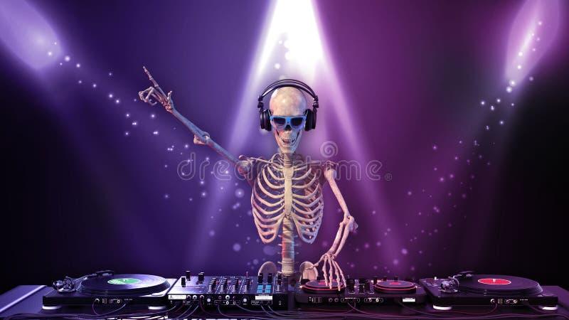 Косточки DJ, человеческий скелет играя музыку на turntables, скелет с оборудованием звука диск-жокея, близким вверх по взгляду, 3 иллюстрация вектора
