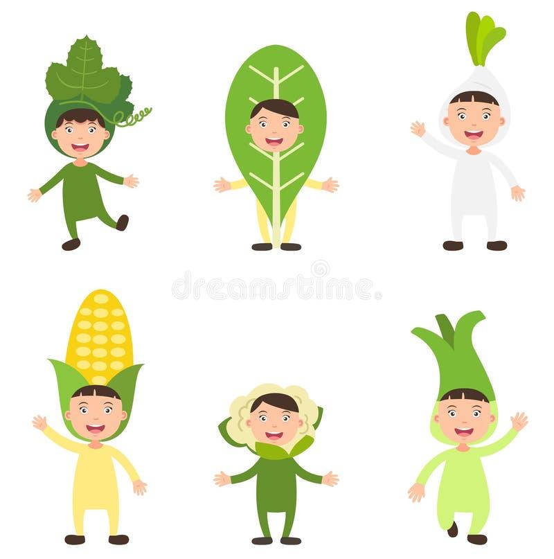 Костюмирует вектор детей овоща иллюстрация штока
