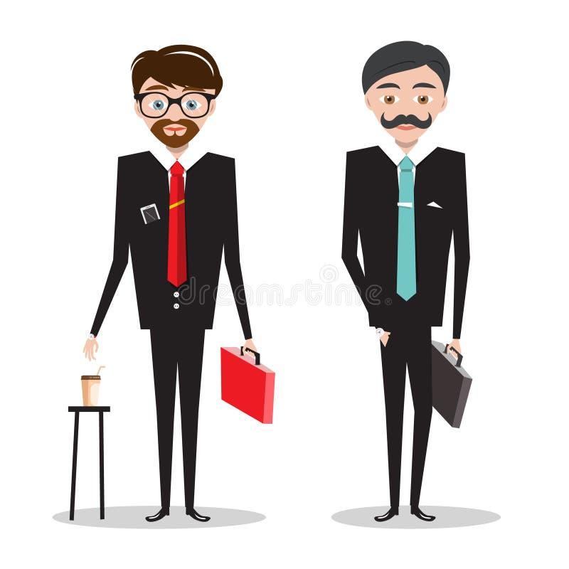 костюмы бизнесменов Шарж бизнесменов иллюстрация штока