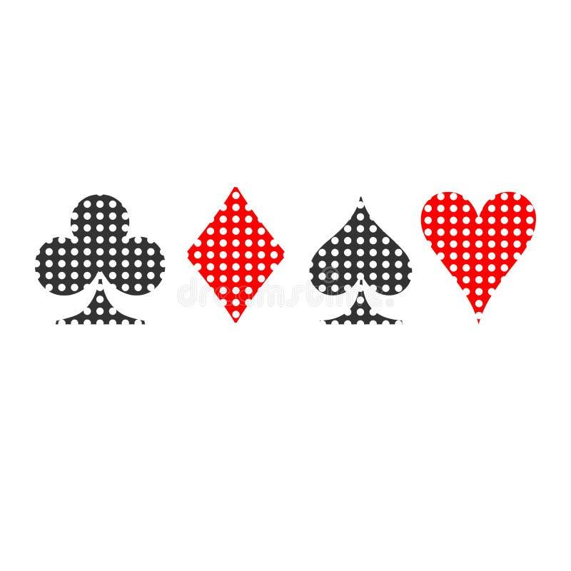 Костюмы в пунктах Прочешите вектор значка костюма, вектор символов играя карточек иллюстрация штока