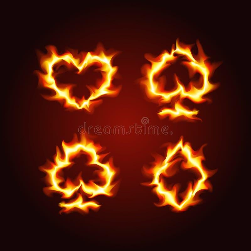 Костюмы играя карточки на огне иллюстрация штока