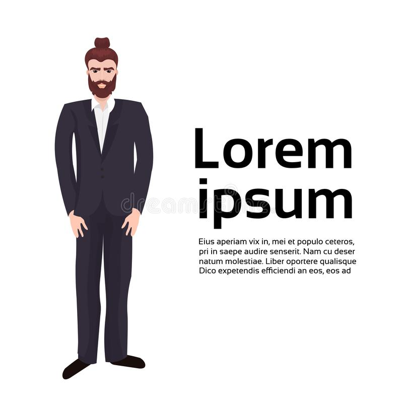 Костюм бородатого битника бизнесмена нося над предпосылкой с космосом экземпляра иллюстрация штока