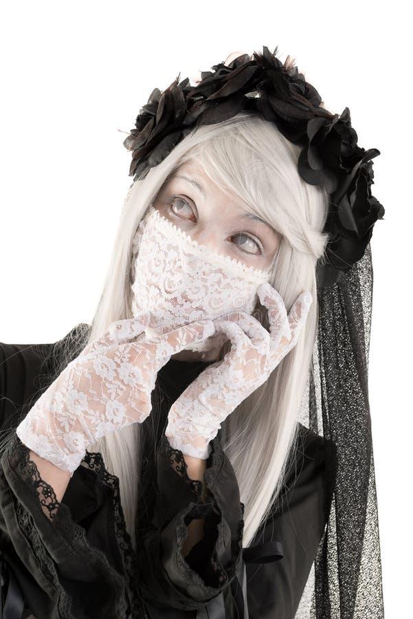 Костюм девушки куклы вдовы стоковое фото rf