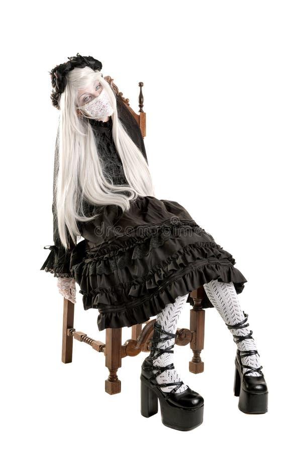 Костюм девушки куклы вдовы стоковые фотографии rf