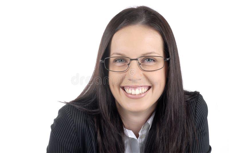 Костюм женского юриста молодые профессиональные нося и стекла, белая предпосылка стоковая фотография