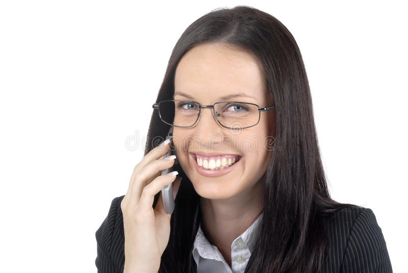 Костюм и стекла женского юриста нося говоря на изолированном мобильном телефоне, стоковая фотография