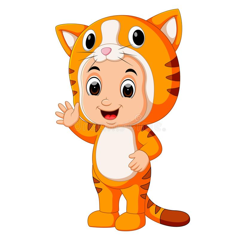 Костюм кота милого шаржа детей нося иллюстрация вектора