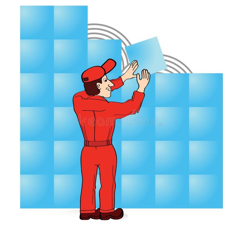 костюм красного цвета строителя боилера иллюстрация штока