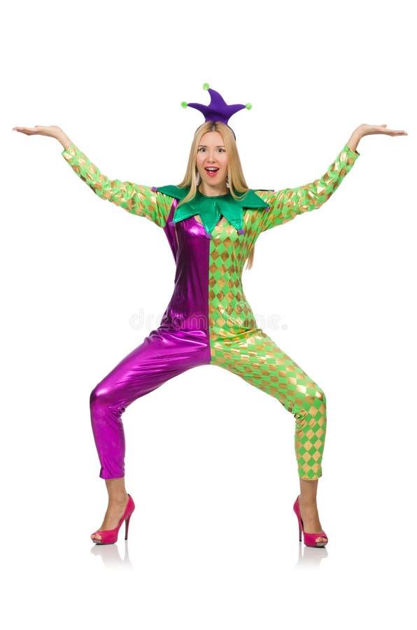 Костюм клоуна женщины нося стоковые фотографии rf