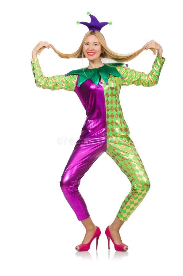 Костюм клоуна женщины нося стоковая фотография rf