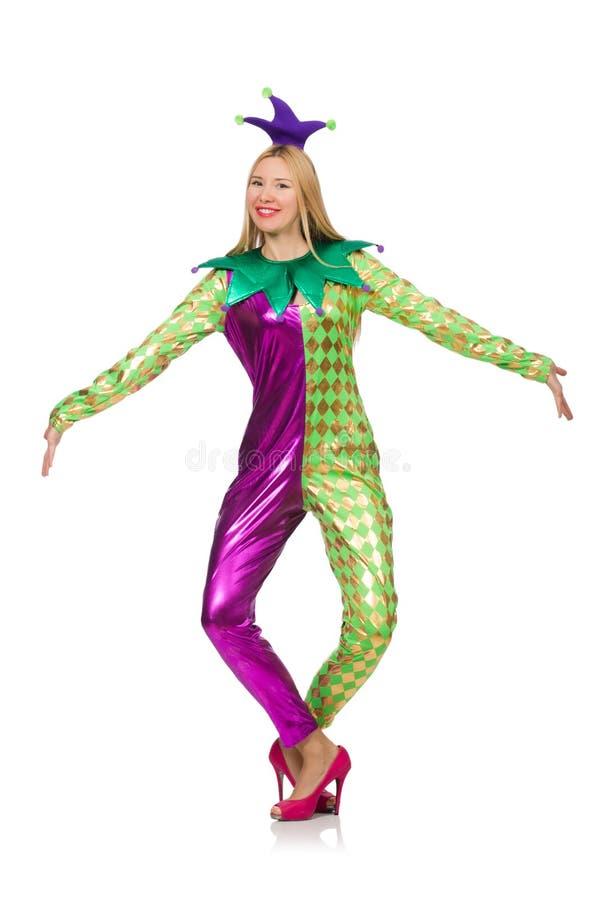 Костюм клоуна женщины нося стоковое изображение