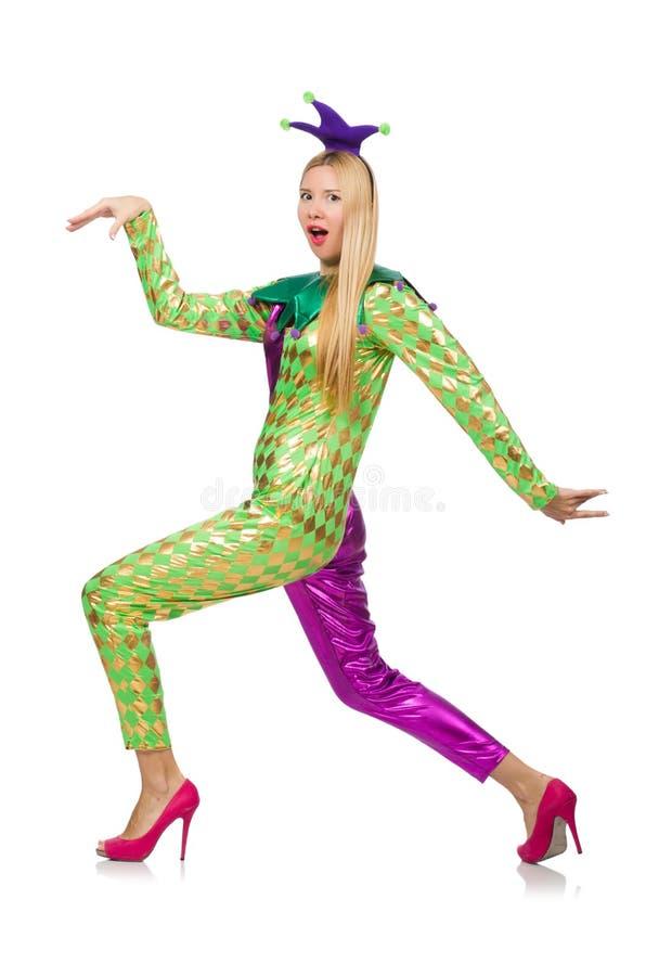 Костюм клоуна женщины нося стоковое фото rf
