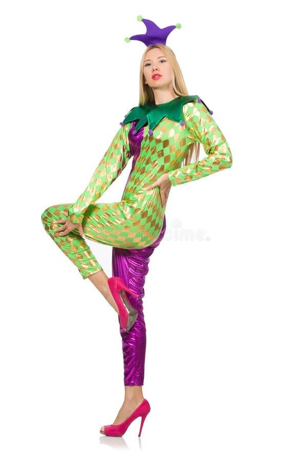 Костюм клоуна женщины нося стоковое изображение rf