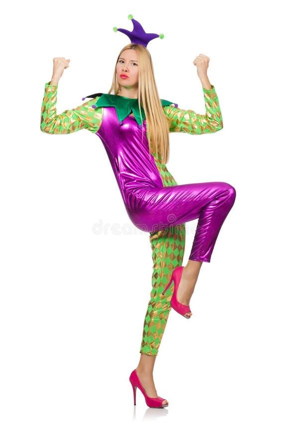 Костюм клоуна женщины нося стоковое фото
