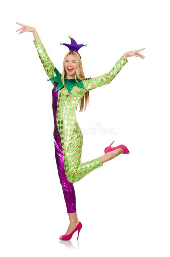 Костюм клоуна женщины нося стоковая фотография