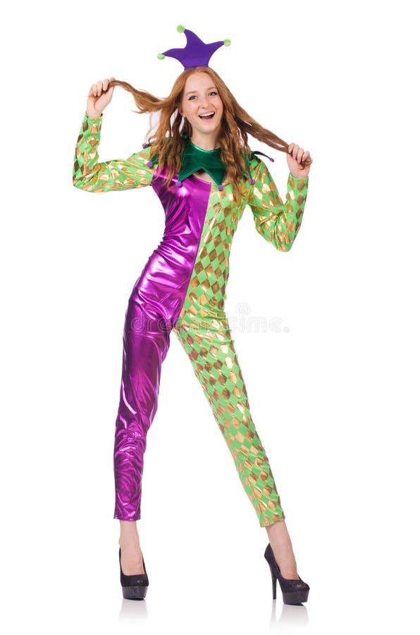 Костюм клоуна женщины нося стоковые изображения