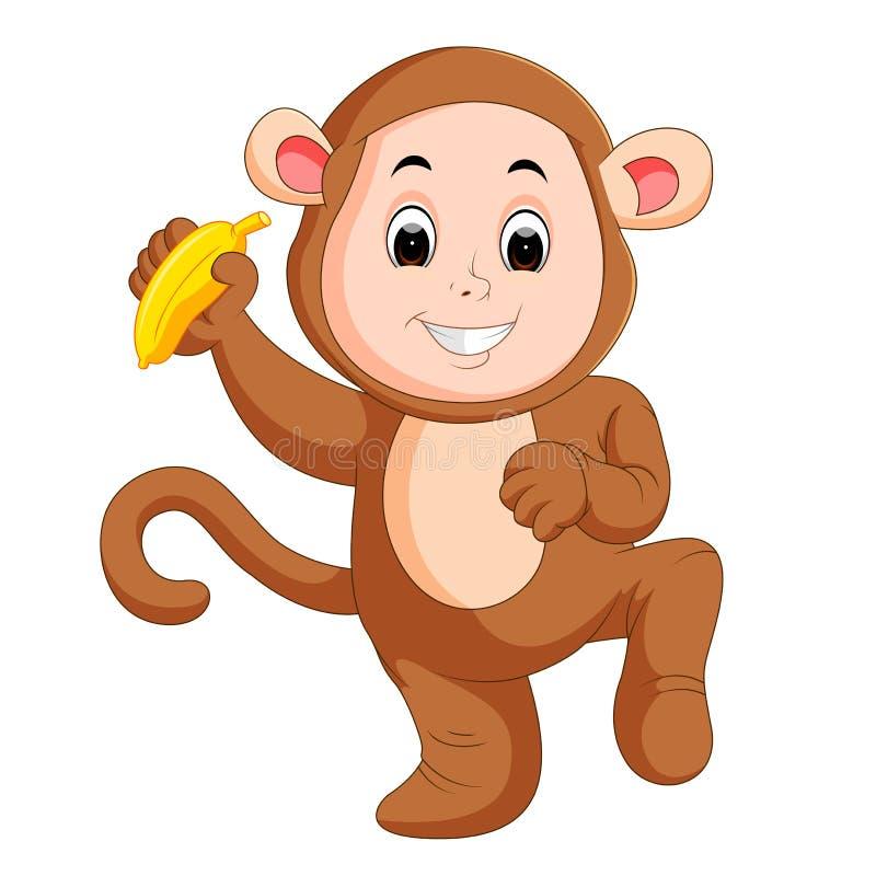 Костюм обезьяны маленького смешного младенца нося иллюстрация вектора