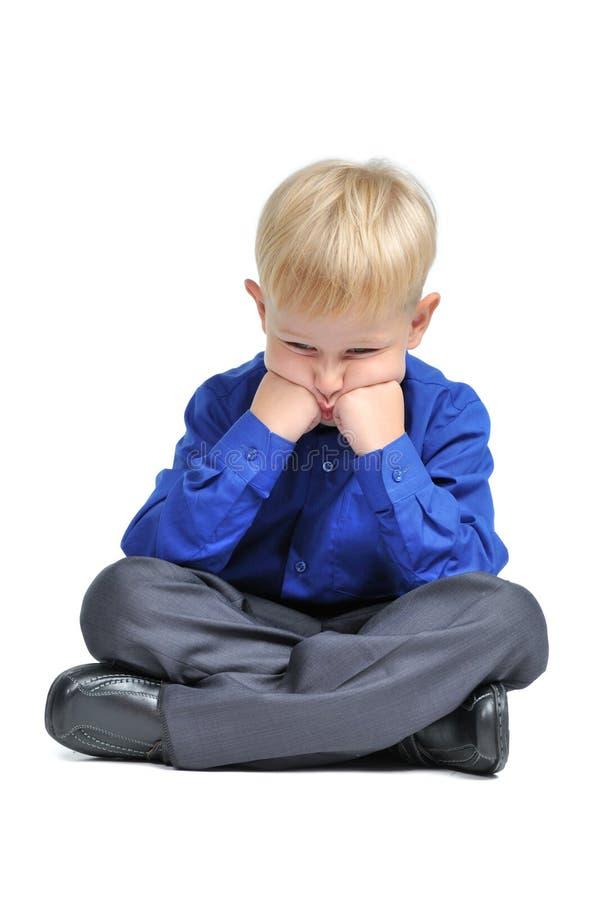 костюм представления лотоса мальчика унылый сидя стоковые фото