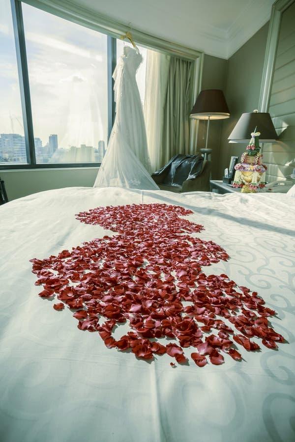 Костюм платья и groom свадьбы в комнате с лепестками розы на кровати, стоковое фото