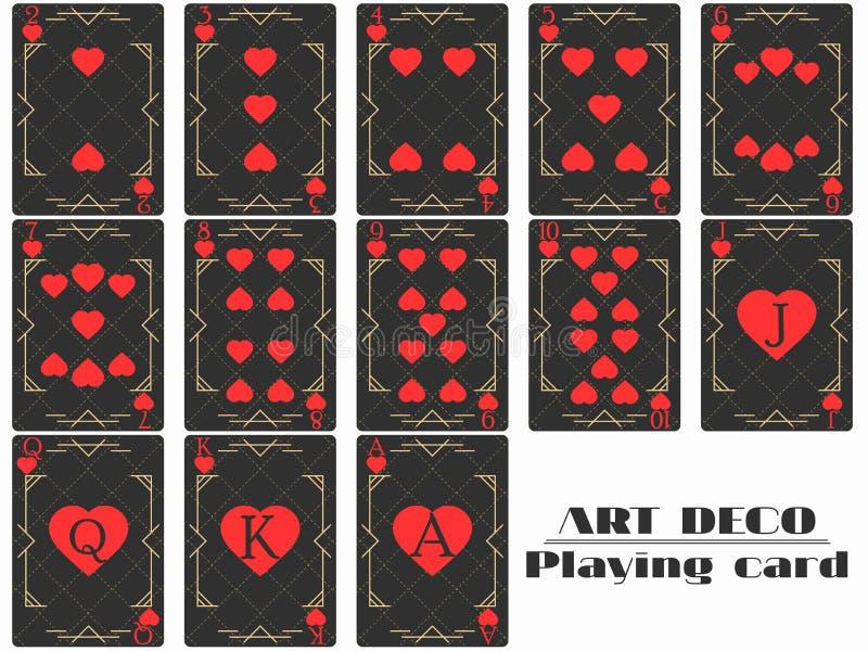 Костюм сердца играя карточек Покер чешет стиль стиля Арт Деко оригинального дизайна вектор иллюстрация штока