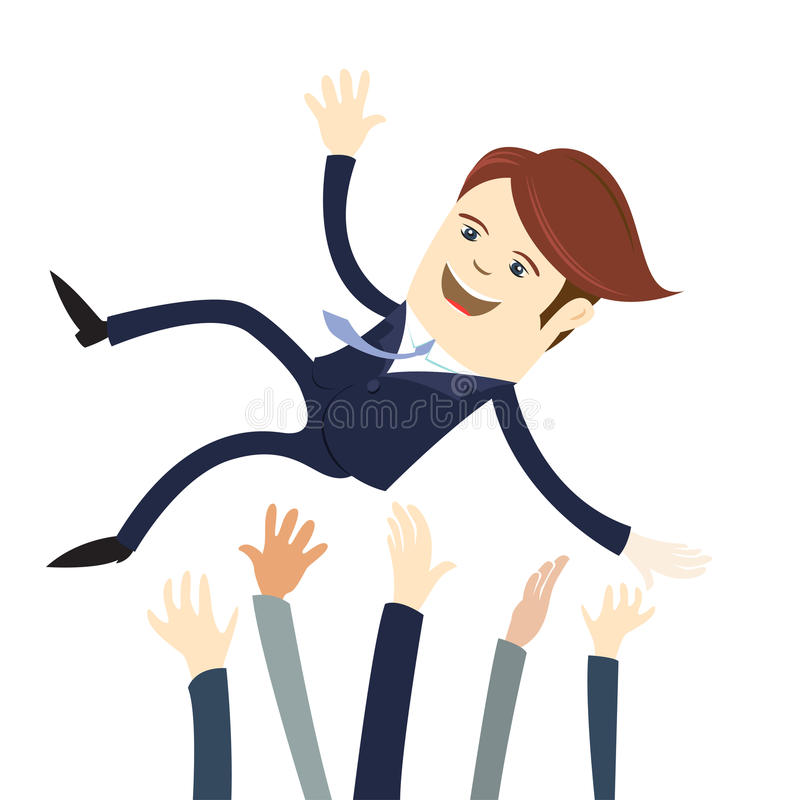 Костюм счастливого бизнесмена нося бросил в воздух его Col команды иллюстрация вектора