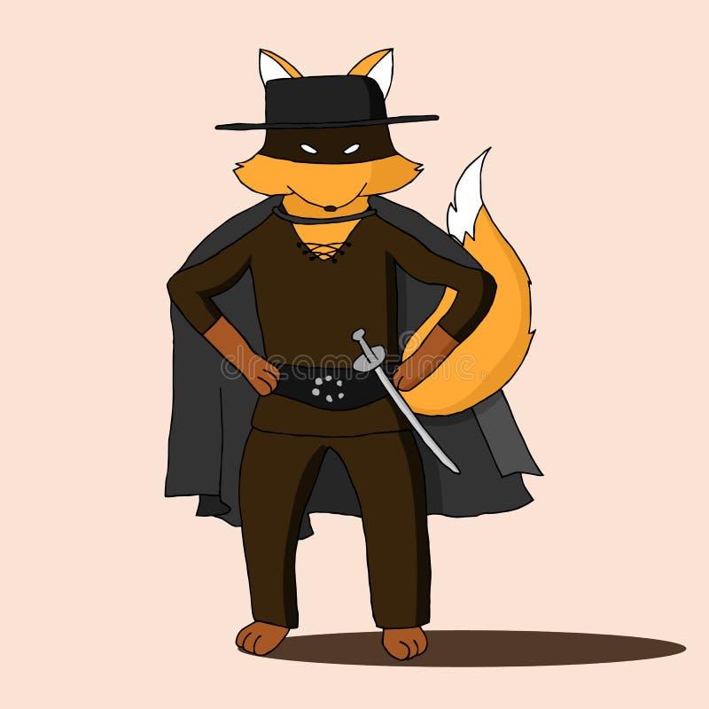 Костюм Fox нося характера кино Zorro иллюстрация вектора