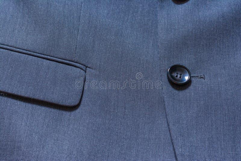 Костюм Professio смокинга ткани детали текстуры крупного плана блейзера голубой стоковые изображения