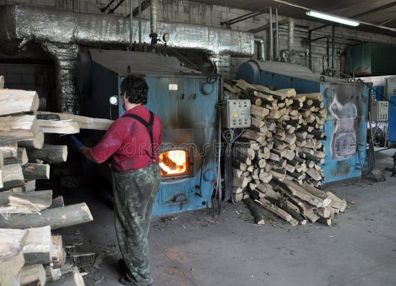 Котельное помещение промышленного предприятия на древесине стоковые фото