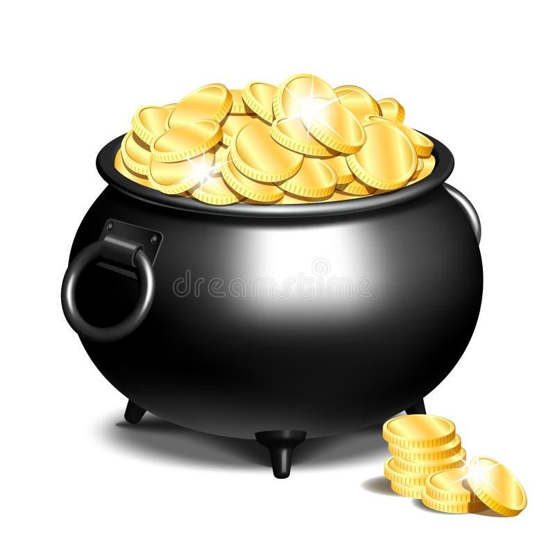 Котел или черный бак вполне золотых монеток иллюстрация штока