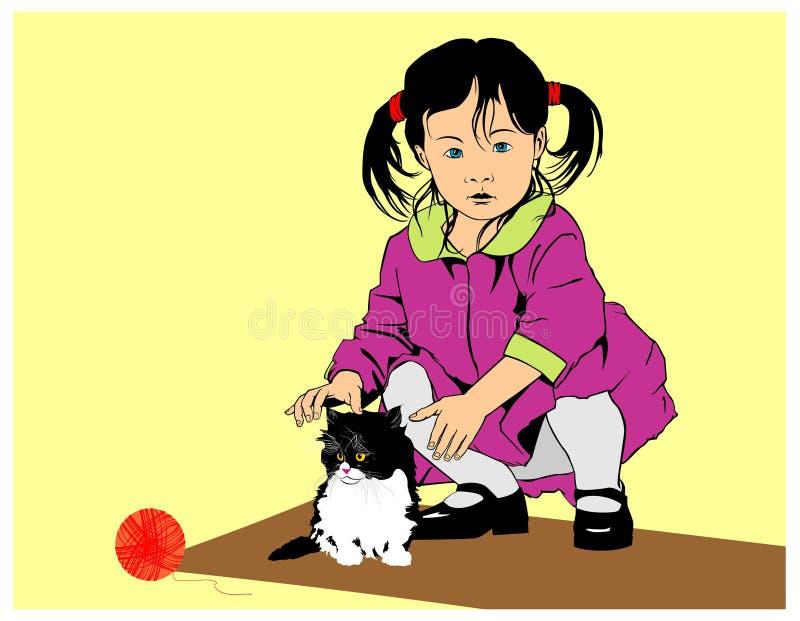 котенок девушок немногая иллюстрация вектора