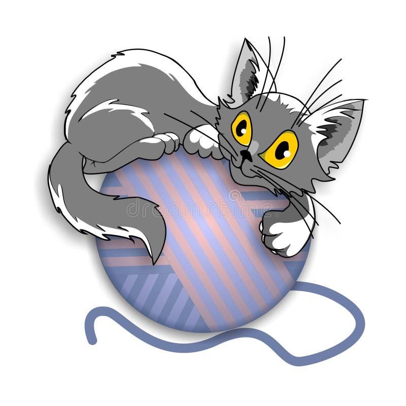 Котенок и шарик стоковое изображение