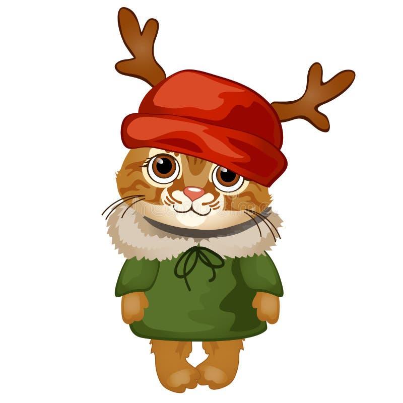 Котенок мультфильма милый в красной шляпе с antlers изолированными на белой предпосылке Образец плаката, приглашения и другого иллюстрация вектора