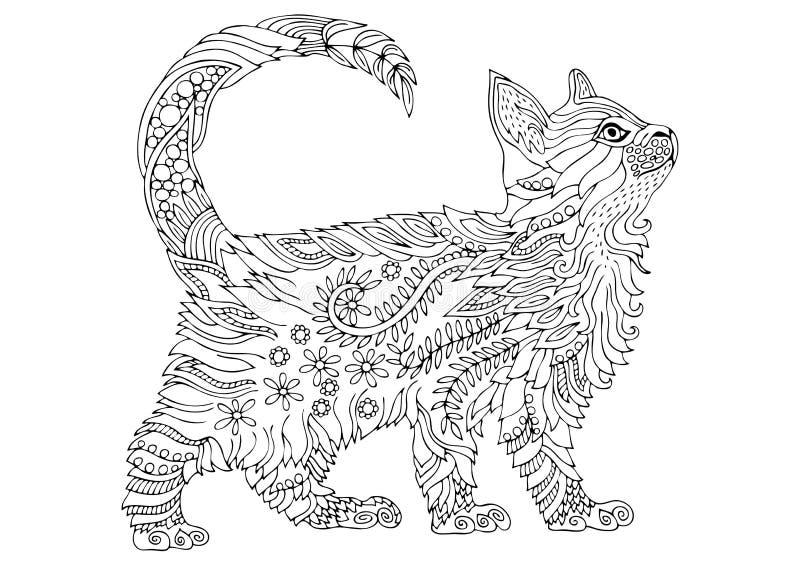Котенок нарисованный рукой Эскиз для страницы расцветки анти--стресса иллюстрация штока