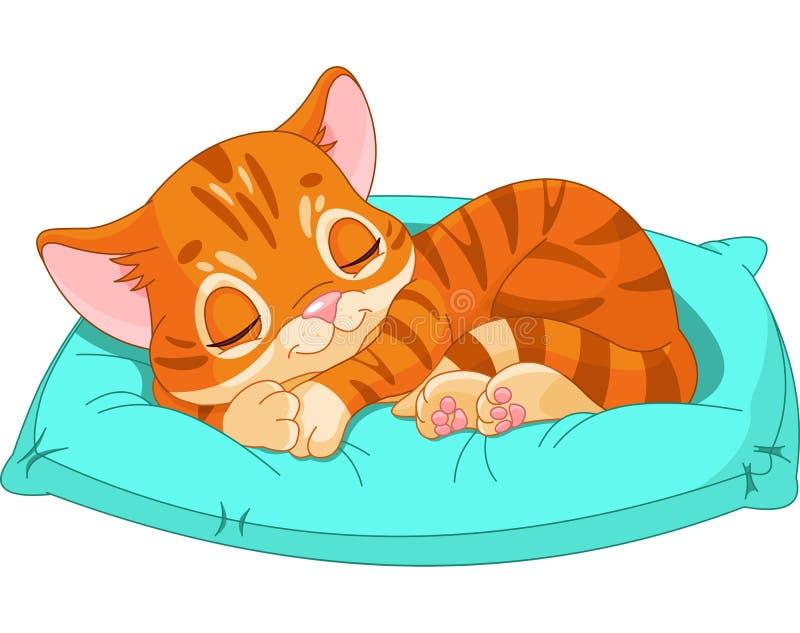 Котенок спать иллюстрация вектора