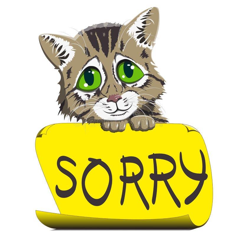 котенок с знаком прося прощение иллюстрация вектора